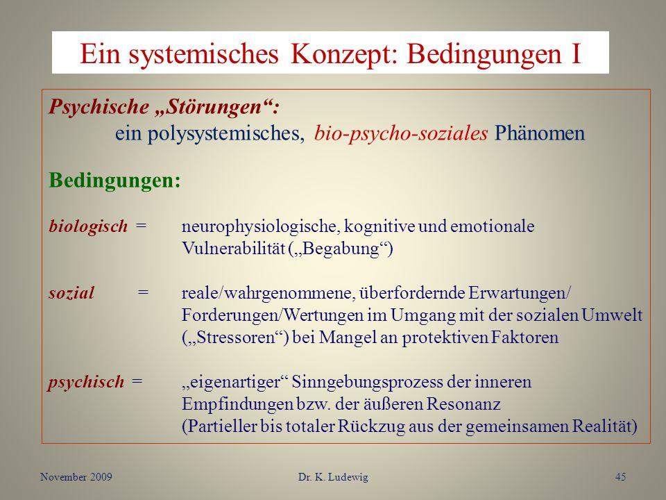 November 2009Dr. K. Ludewig45 Psychische Störungen: ein polysystemisches, bio-psycho-soziales Phänomen Bedingungen: biologisch = neurophysiologische,