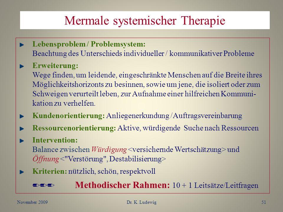 November 2009Dr. K. Ludewig51 Lebensproblem / Problemsystem: Beachtung des Unterschieds individueller / kommunikativer Probleme Erweiterung: Wege find