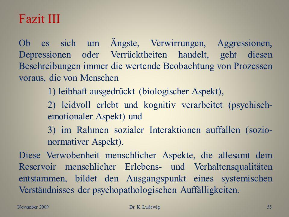 November 2009Dr. K. Ludewig55 Fazit III Ob es sich um Ängste, Verwirrungen, Aggressionen, Depressionen oder Verrücktheiten handelt, geht diesen Beschr