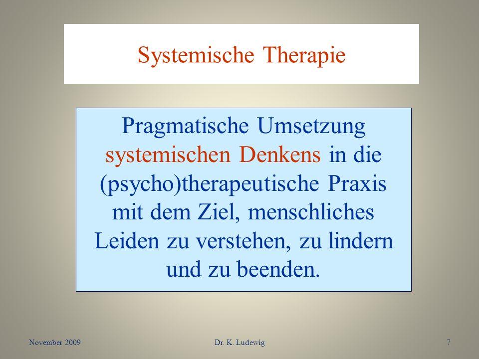 November 2009Dr. K. Ludewig7 Systemische Therapie Pragmatische Umsetzung systemischen Denkens in die (psycho)therapeutische Praxis mit dem Ziel, mensc