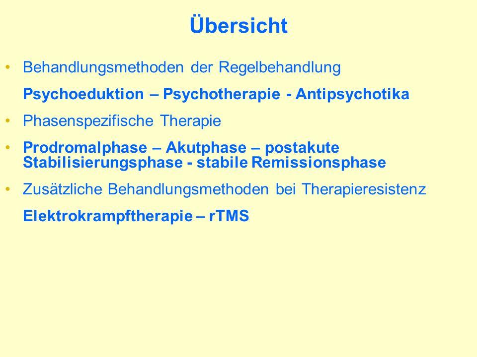 Behandlungsmethoden Psychotherapie und Psychoedukation Soziotherapie und Angehörigenarbeit Pharmakotherapie (Antipsychotika) Stimulationsverfahren EKT, rTMS