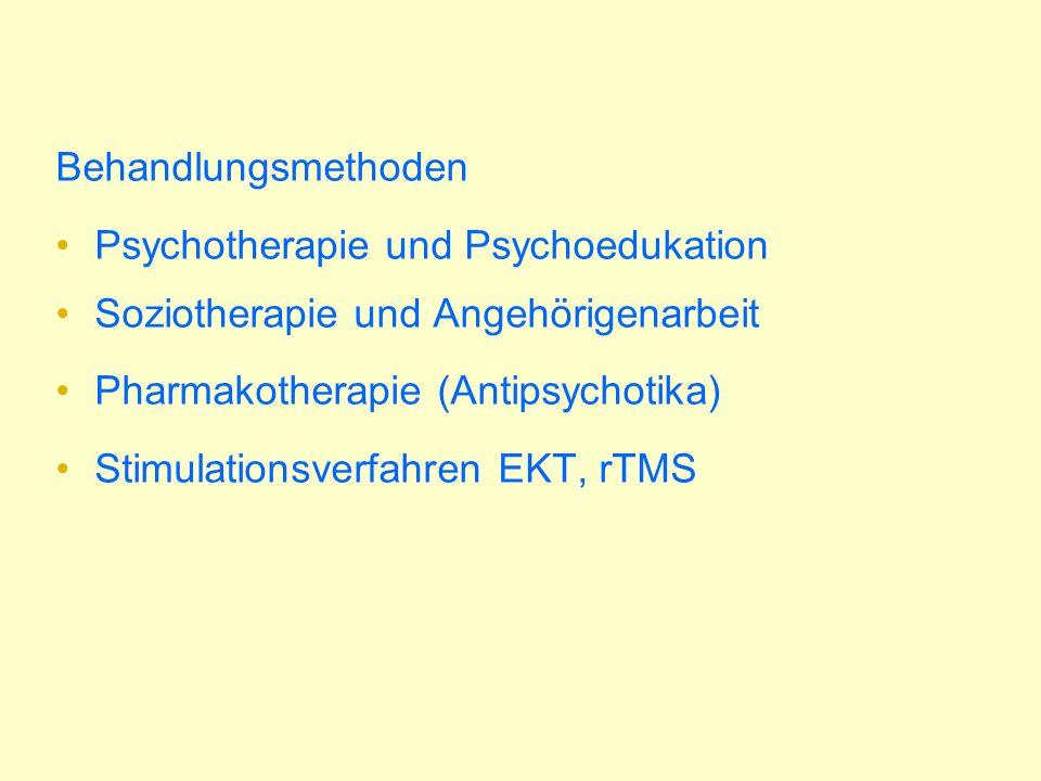 Therapieresistenz 2 Antipsychotika 6-8 Wochen Zieldosis, Spiegelkontrolle, mindestens ein atypisches Antipsychotikum Umstellung auf ein atypisches Antipsychotikum, dann Umstellung auf Clozapin B Lithium, Valproat, Carbamazepin bei Vorliegen von affektiven Symptomen B Kombination Atypikum mit Clozapin C Bei medikamentös therapieresistenter persistierender psychotischer Symptome kognitive Verhaltenstherapie B Elektrokrampftherapie als ultima ratio C repetitive transkranielle Magnetstimulation bei therapieresistenter Negativsymptomatik und akustsischen Halluzination