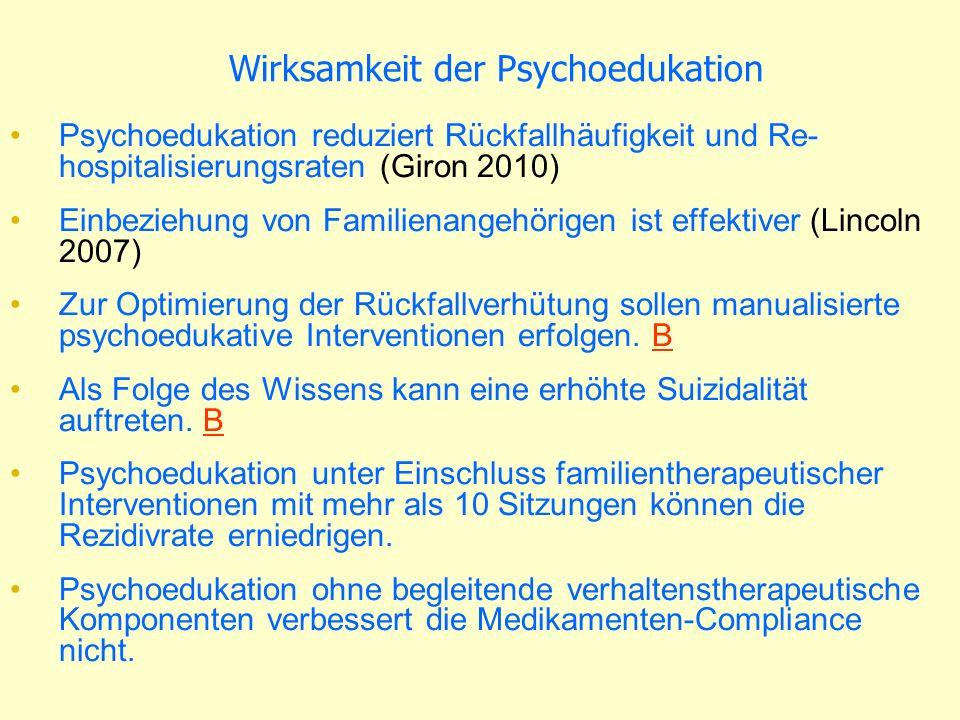 Prodromal-Symptomatik Reduktion der globalen Funktionsfähigkeit (GAF) Angehöriger Schizophrenie oder Geburtskomplikation Psychosefern –mehrfaches Auftreten 7 Tage –Zwangähnliches Perseverieren, Gedanken-drängen und - blockierung, Störung der rezeptiven Sprache, der Diskriminierung von Vorstellungen und Wahrnehmungen, Eigenbeziehungstendenz, Derealisation, Optische oder akustische Wahrnehmungsstörungen Psychosenah –Transiente, spontan remitiierend <7 Tage –psychotisches Symptom (DSM-IV-Schizotypie-Kategorie)