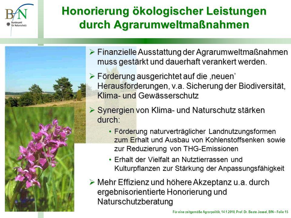 Für eine zeitgemäße Agrarpolitik, 14.1.2010, Prof. Dr. Beate Jessel, BfN – Folie 15 Honorierung ökologischer Leistungen durch Agrarumweltmaßnahmen Fin