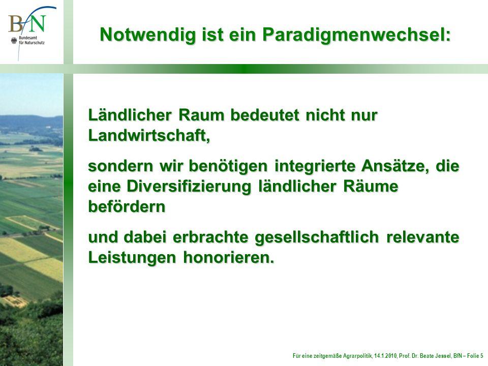 Für eine zeitgemäße Agrarpolitik, 14.1.2010, Prof. Dr. Beate Jessel, BfN – Folie 5 Notwendig ist ein Paradigmenwechsel: Ländlicher Raum bedeutet nicht