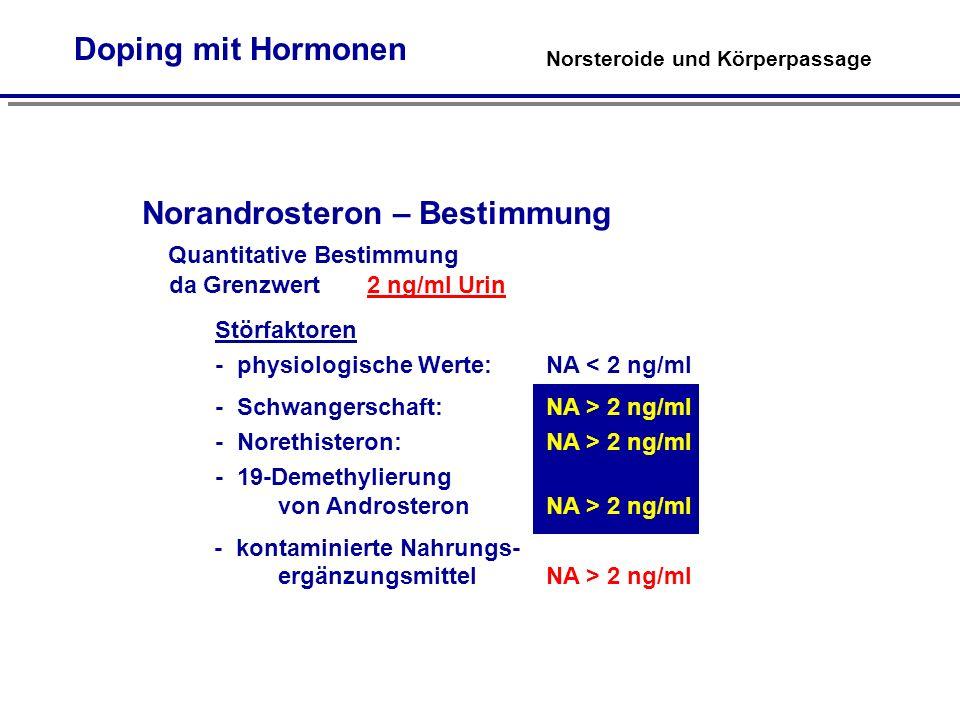 Norandrosteron – Bestimmung Quantitative Bestimmung da Grenzwert 2 ng/ml Urin Störfaktoren - physiologische Werte: NA < 2 ng/ml - Schwangerschaft: NA > 2 ng/ml - Norethisteron: NA > 2 ng/ml - 19-Demethylierung von Androsteron NA > 2 ng/ml - kontaminierte Nahrungs- ergänzungsmittel NA > 2 ng/ml Norsteroide und Körperpassage Doping mit Hormonen