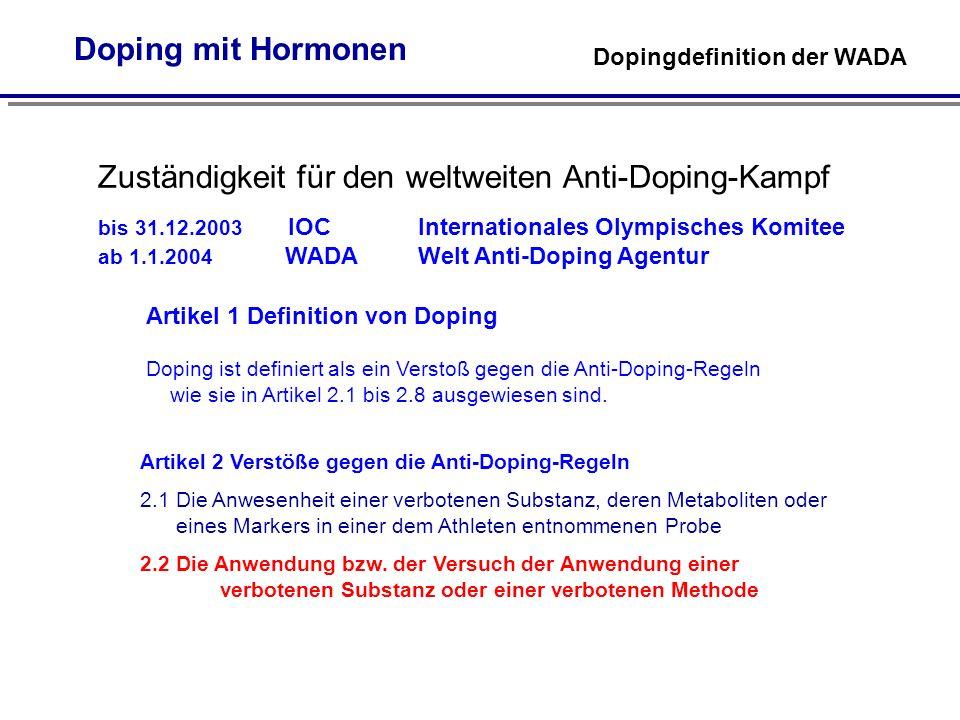 Doping mit Hormonen Dopingdefinition der WADA Artikel 1 Definition von Doping Doping ist definiert als ein Verstoß gegen die Anti-Doping-Regeln wie sie in Artikel 2.1 bis 2.8 ausgewiesen sind.