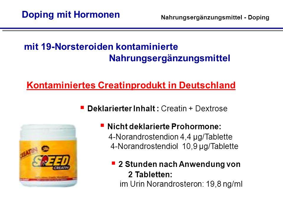 mit 19-Norsteroiden kontaminierte Nahrungsergänzungsmittel Kontaminiertes Creatinprodukt in Deutschland Deklarierter Inhalt : Creatin + Dextrose Nicht deklarierte Prohormone: 4-Norandrostendion 4,4 µg/Tablette 4-Norandrostendiol 10,9 µg/Tablette 2 Stunden nach Anwendung von 2 Tabletten: im Urin Norandrosteron: 19,8 ng/ml Nahrungsergänzungsmittel - Doping