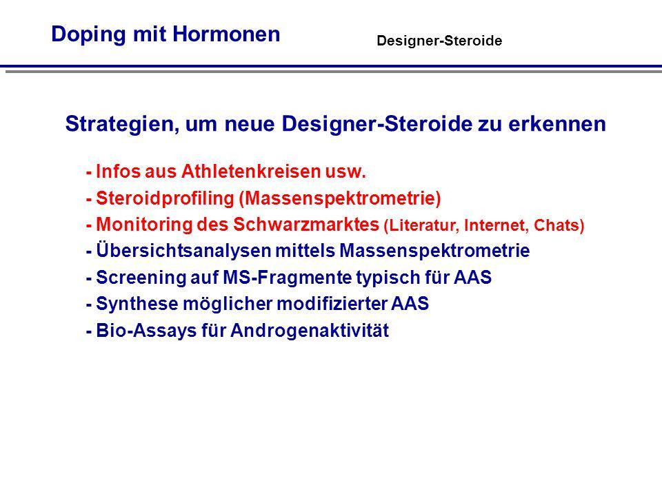 Designer-Steroide Doping mit Hormonen Strategien, um neue Designer-Steroide zu erkennen - Infos aus Athletenkreisen usw.