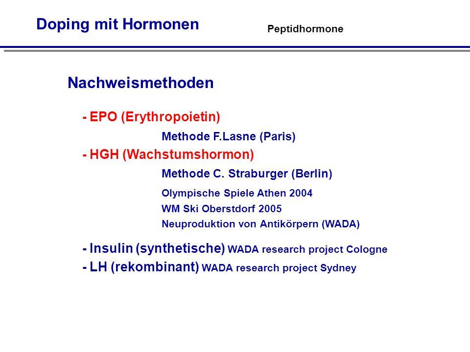 Peptidhormone Doping mit Hormonen Nachweismethoden - EPO (Erythropoietin) Methode F.Lasne (Paris) - HGH (Wachstumshormon) Methode C.