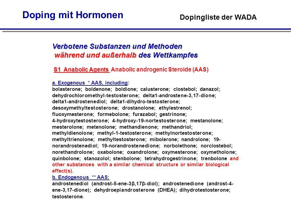 Doping mit Hormonen Dopingliste der WADA Verbotene Substanzen und Methoden während und außerhalb des Wettkampfes S1 Anabolic Agents S1 Anabolic Agents Anabolic androgenic Steroide (AAS) a.