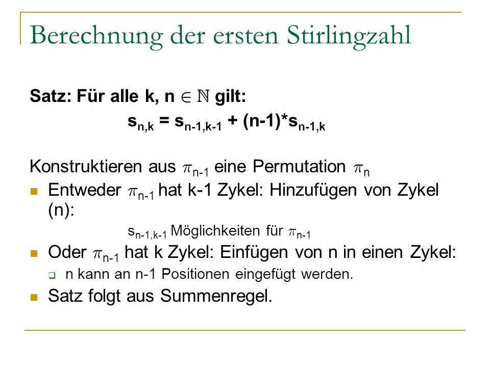 Berechnung der ersten Stirlingzahl Satz: Für alle k, n 2 N gilt: s n,k = s n-1,k-1 + (n-1)*s n-1,k Konstruktieren aus ¼ n-1 eine Permutation ¼ n Entwe