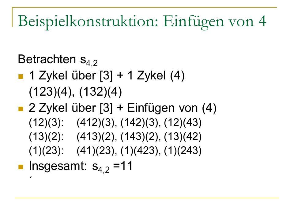 Beispielkonstruktion: Einfügen von 4 Betrachten s 4,2 1 Zykel über [3] + 1 Zykel (4) (123)(4), (132)(4) 2 Zykel über [3] + Einfügen von (4) (12)(3): (