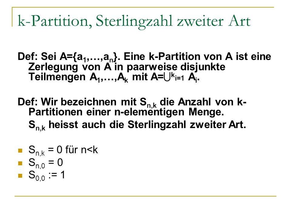 k-Partition, Sterlingzahl zweiter Art Def: Sei A={a 1,…,a n }. Eine k-Partition von A ist eine Zerlegung von A in paarweise disjunkte Teilmengen A 1,…