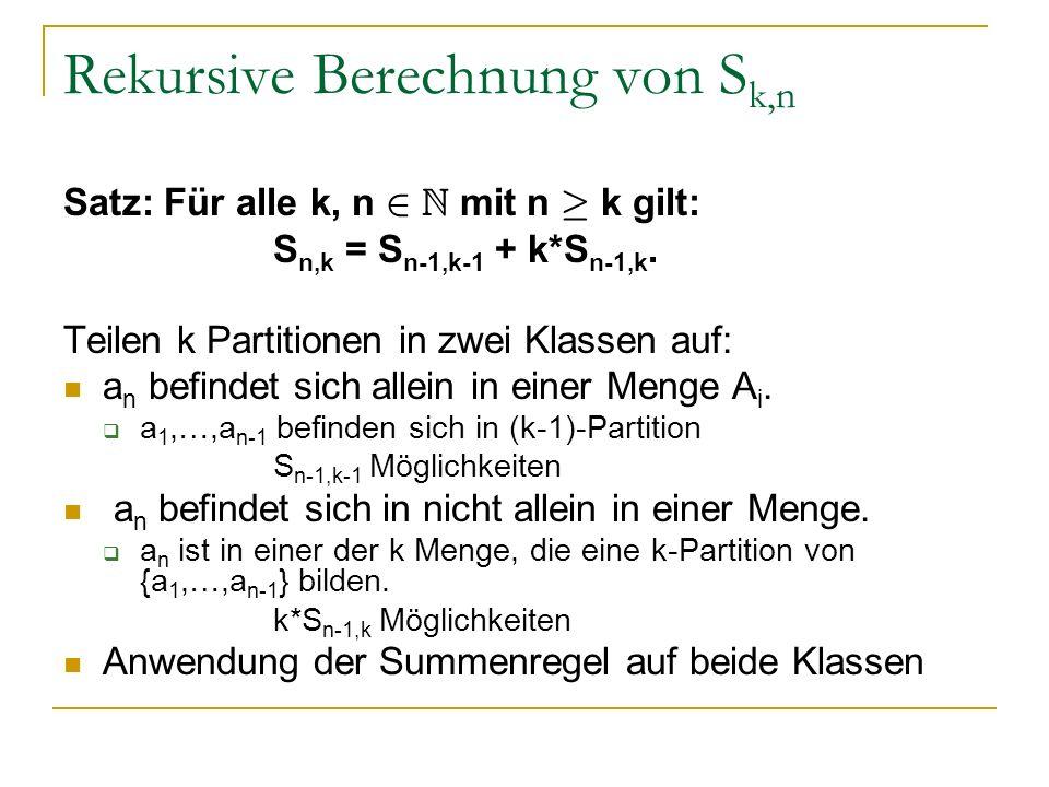 Rekursive Berechnung von S k,n Satz: Für alle k, n 2 N mit n ¸ k gilt: S n,k = S n-1,k-1 + k*S n-1,k. Teilen k Partitionen in zwei Klassen auf: a n be