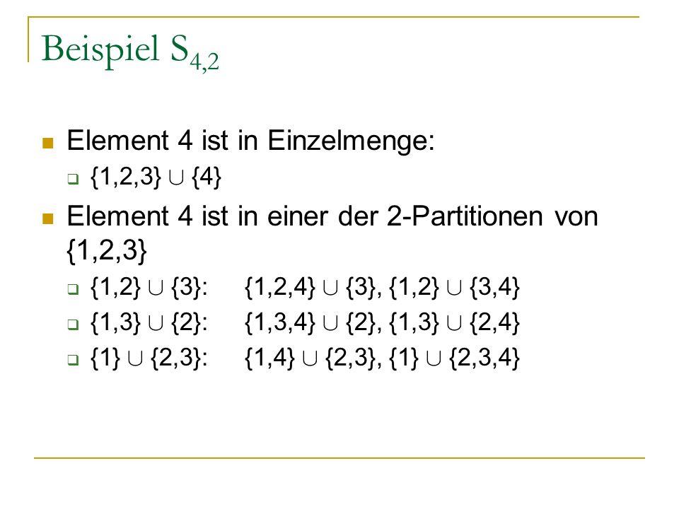 Beispiel S 4,2 Element 4 ist in Einzelmenge: {1,2,3} [ {4} Element 4 ist in einer der 2-Partitionen von {1,2,3} {1,2} [ {3}: {1,2,4} [ {3}, {1,2} [ {3