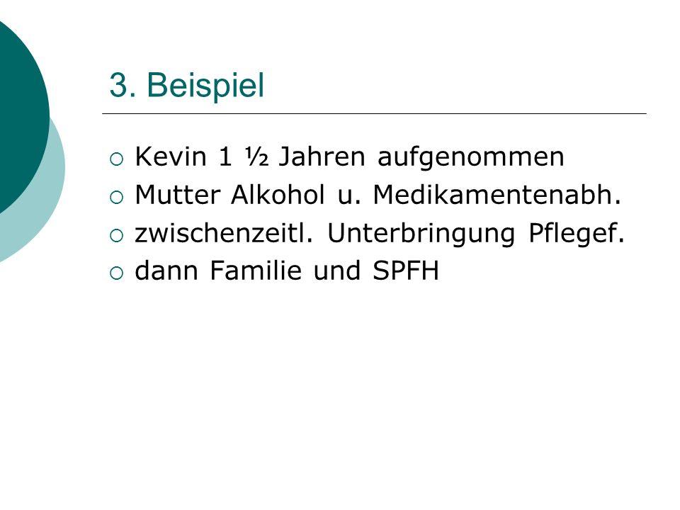 3. Beispiel Kevin 1 ½ Jahren aufgenommen Mutter Alkohol u. Medikamentenabh. zwischenzeitl. Unterbringung Pflegef. dann Familie und SPFH