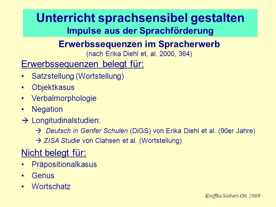 Erwerbssequenzen im Spracherwerb (nach Erika Diehl et, al.