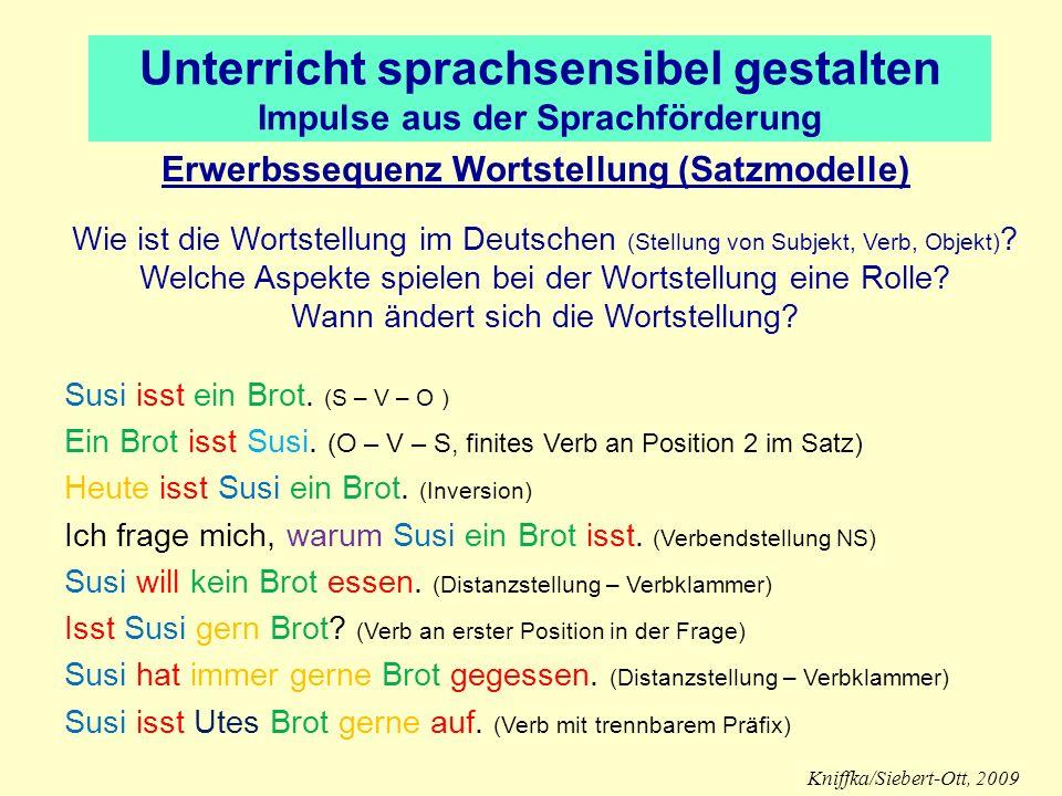 Unterricht sprachsensibel gestalten Impulse aus der Sprachförderung Erwerbssequenz Wortstellung (Satzmodelle) Wie ist die Wortstellung im Deutschen (S