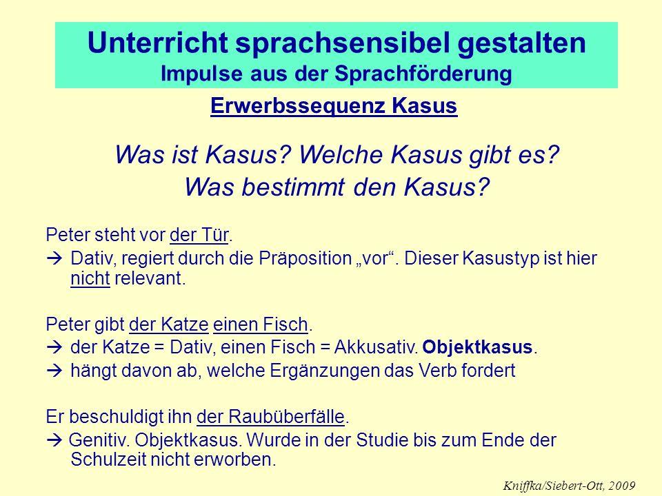 Unterricht sprachsensibel gestalten Impulse aus der Sprachförderung Erwerbssequenz Kasus Was ist Kasus? Welche Kasus gibt es? Was bestimmt den Kasus?