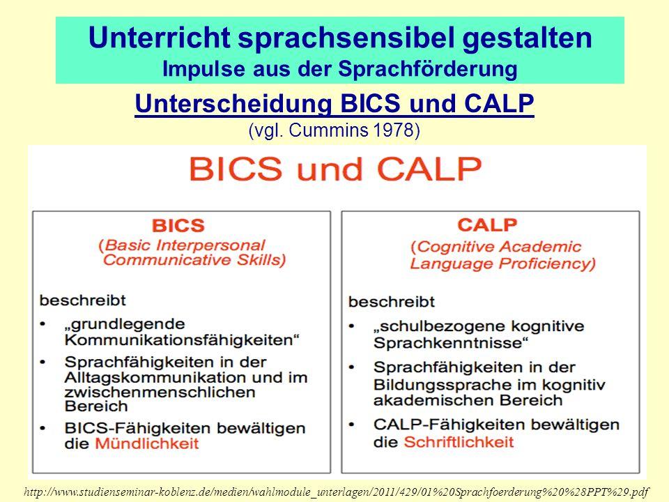 Unterricht sprachsensibel gestalten Impulse aus der Sprachförderung Unterscheidung BICS und CALP (vgl. Cummins 1978) http://www.studienseminar-koblenz