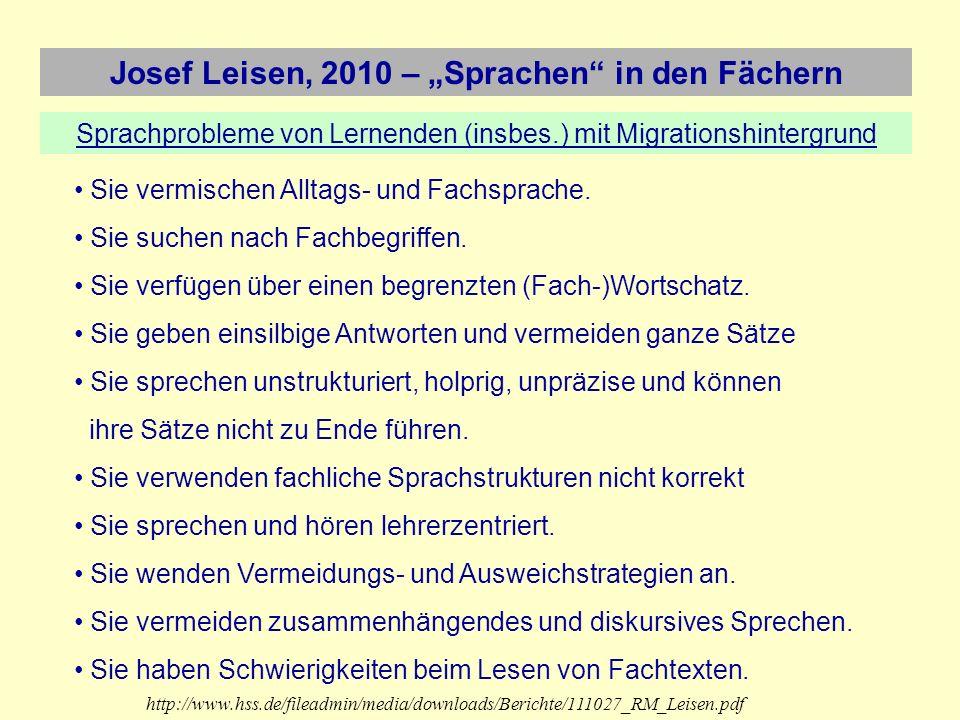 Josef Leisen, 2010 – Sprachen in den Fächern Was ist also ein sprachsensibler Fachunterricht.