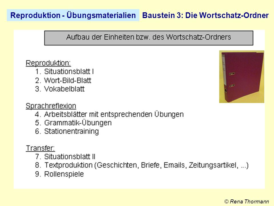 Reproduktion - ÜbungsmaterialienBaustein 4 : Das Schülerportfolio © Rena Thormann Ordner mit 6-facher Registratur