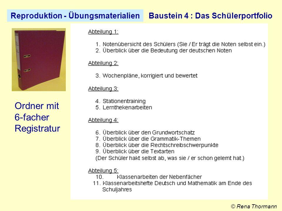 Reproduktion – Übungsmaterialien Baustein 5 : Der Wochenplan © Rena Thormann