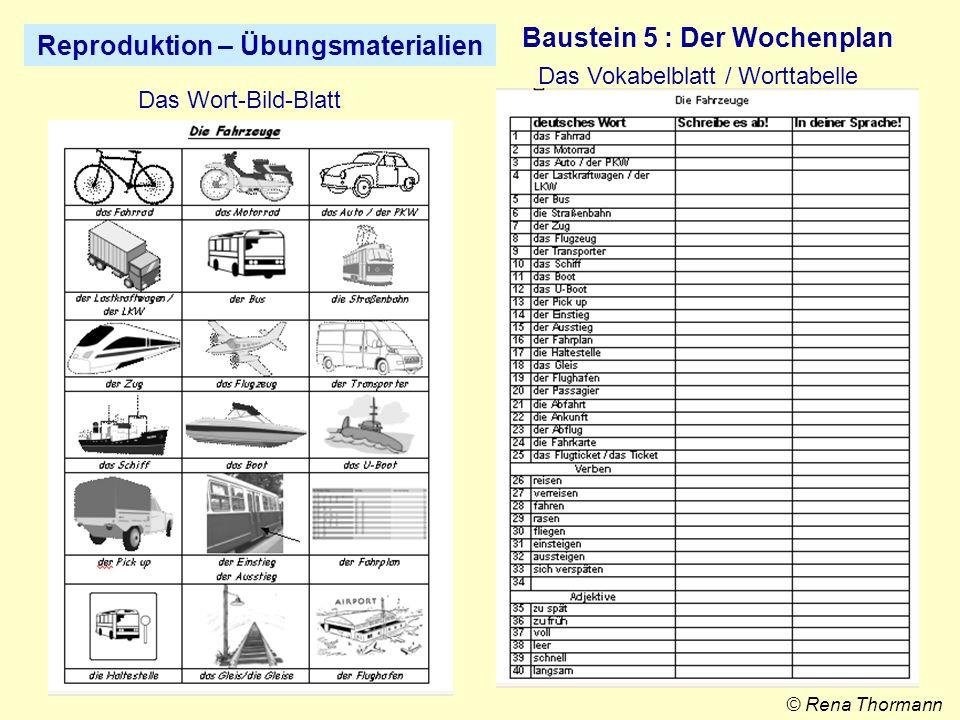 Reproduktion – ÜbungsmaterialienBaustein 5 : Der Wochenplan Übungen zum Wortschatz Bild © Rena Thormann Übungen zur Sprachreflexion