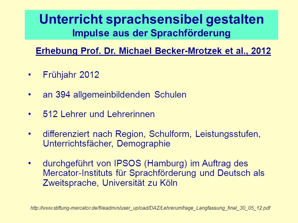 Unterricht sprachsensibel gestalten Impulse aus der Sprachförderung Erhebung Prof. Dr. Michael Becker-Mrotzek et al., 2012 Frühjahr 2012 an 394 allgem