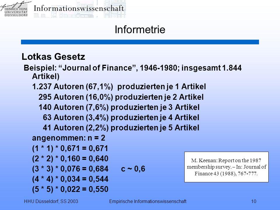 HHU Düsseldorf, SS 2003Empirische Informationswissenschaft10 Informetrie Lotkas Gesetz Beispiel: Journal of Finance, 1946-1980; insgesamt 1.844 Artike