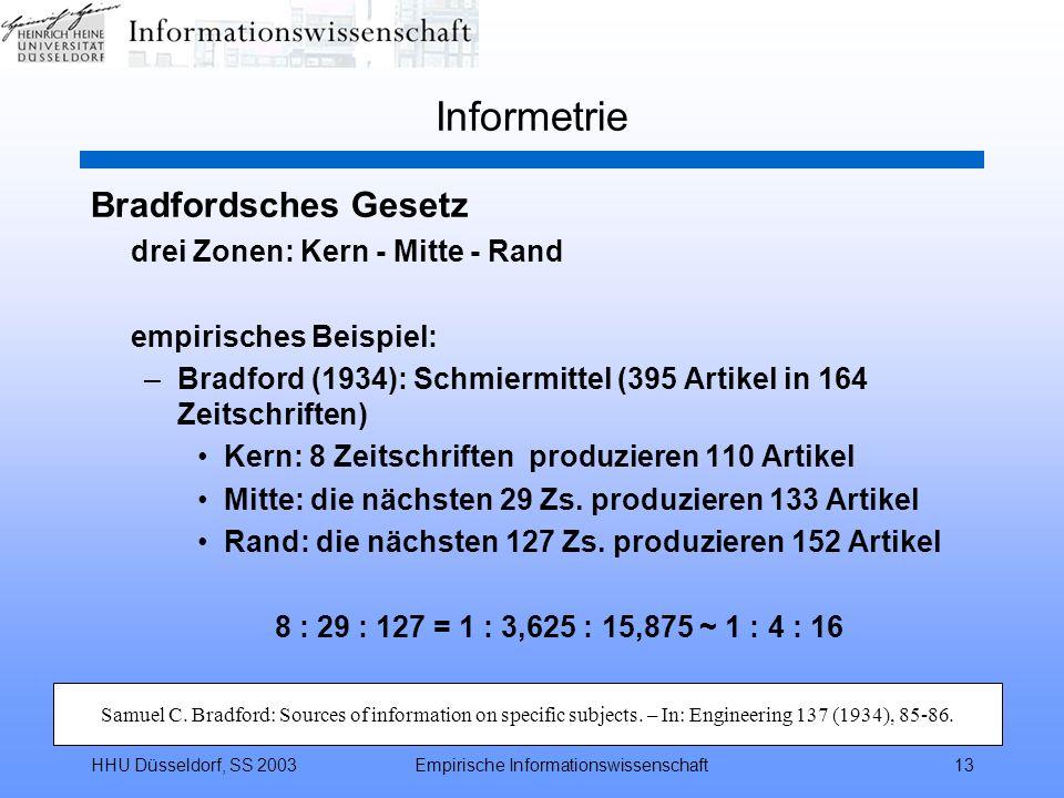 HHU Düsseldorf, SS 2003Empirische Informationswissenschaft13 Informetrie Bradfordsches Gesetz drei Zonen: Kern - Mitte - Rand empirisches Beispiel: –B