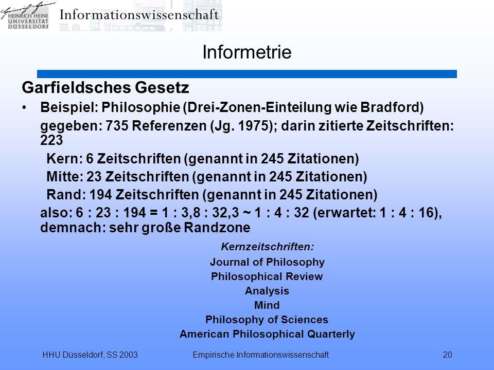 HHU Düsseldorf, SS 2003Empirische Informationswissenschaft20 Informetrie Garfieldsches Gesetz Beispiel: Philosophie (Drei-Zonen-Einteilung wie Bradfor