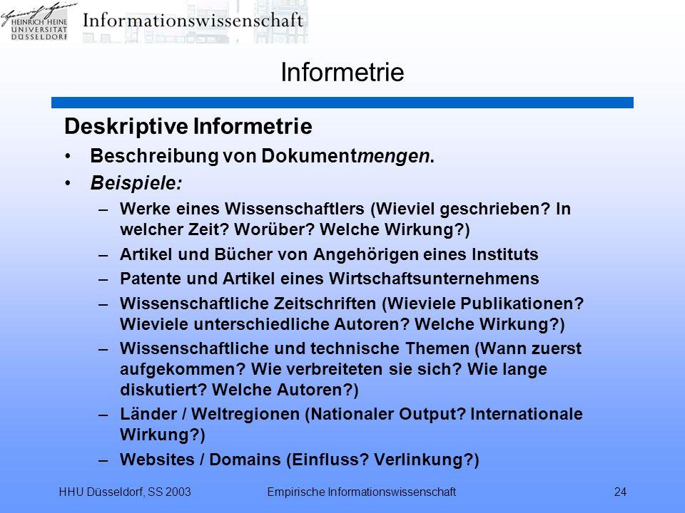 HHU Düsseldorf, SS 2003Empirische Informationswissenschaft24 Informetrie Deskriptive Informetrie Beschreibung von Dokumentmengen. Beispiele: –Werke ei