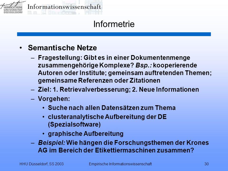 HHU Düsseldorf, SS 2003Empirische Informationswissenschaft30 Informetrie Semantische Netze –Fragestellung: Gibt es in einer Dokumentenmenge zusammenge