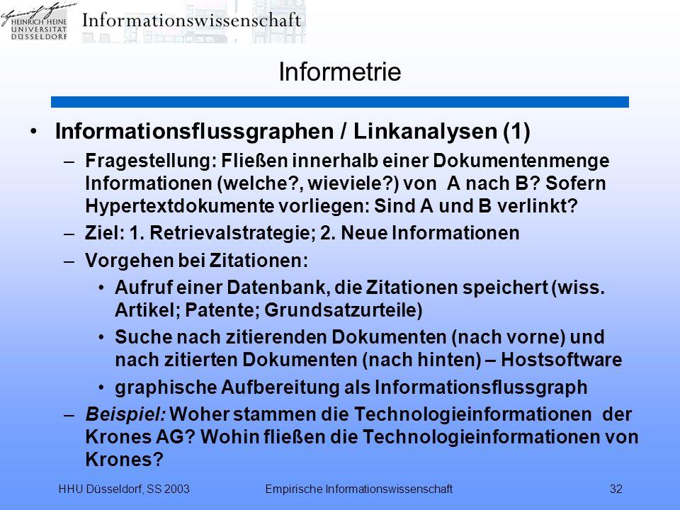 HHU Düsseldorf, SS 2003Empirische Informationswissenschaft32 Informetrie Informationsflussgraphen / Linkanalysen (1) –Fragestellung: Fließen innerhalb