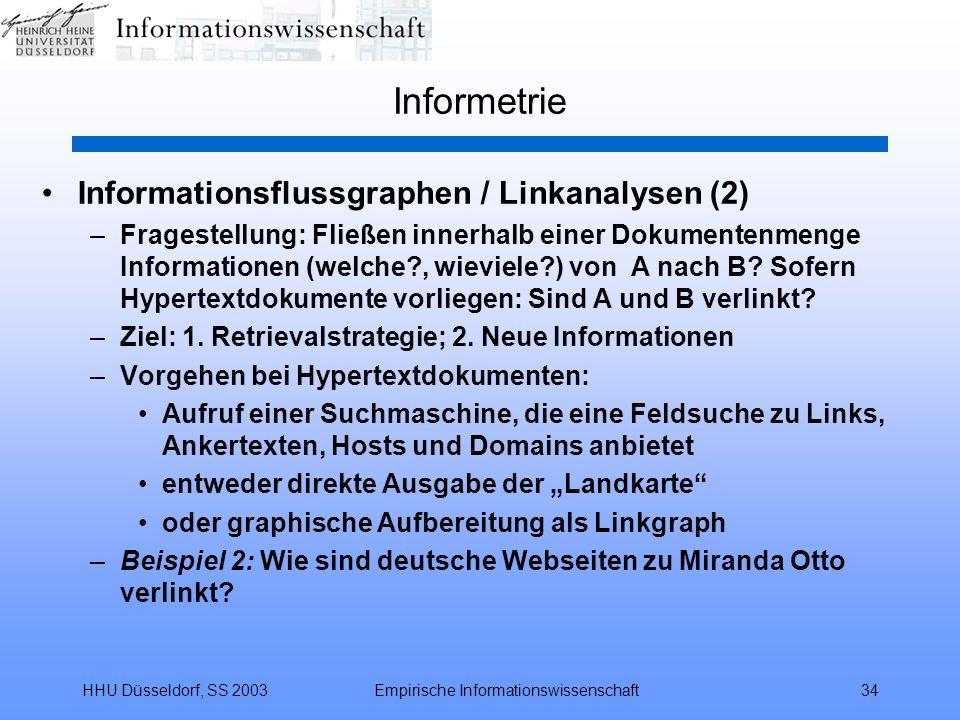 HHU Düsseldorf, SS 2003Empirische Informationswissenschaft34 Informetrie Informationsflussgraphen / Linkanalysen (2) –Fragestellung: Fließen innerhalb