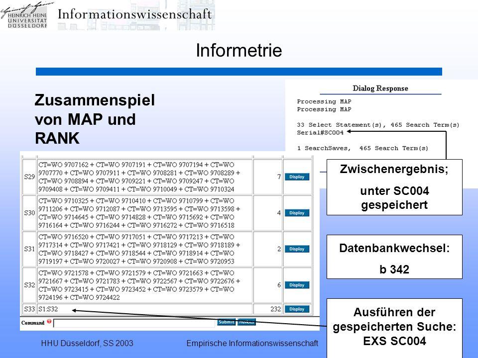 HHU Düsseldorf, SS 2003Empirische Informationswissenschaft41 Informetrie Zusammenspiel von MAP und RANK Zwischenergebnis; unter SC004 gespeichert Date