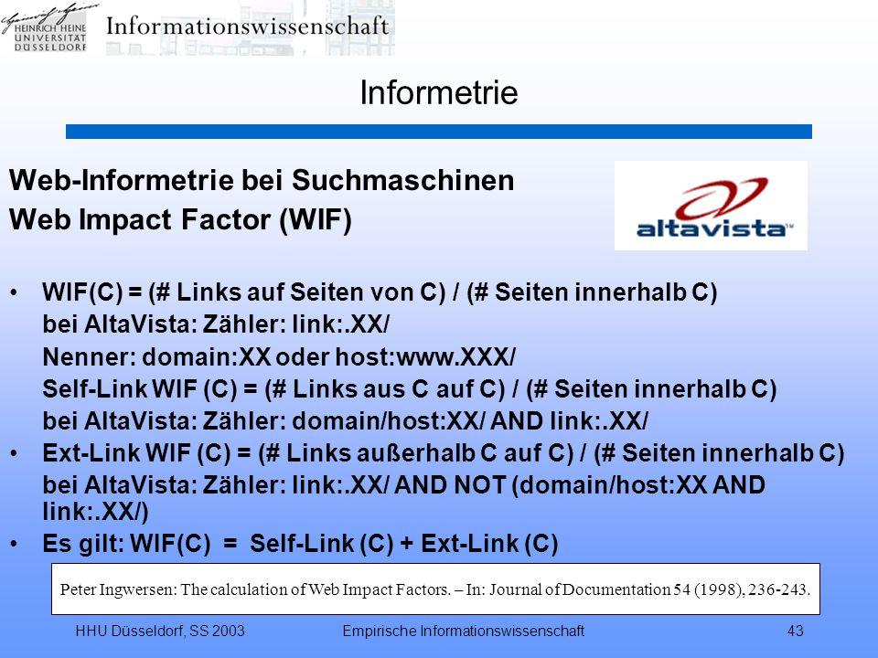 HHU Düsseldorf, SS 2003Empirische Informationswissenschaft43 Informetrie Web-Informetrie bei Suchmaschinen Web Impact Factor (WIF) WIF(C) = (# Links a