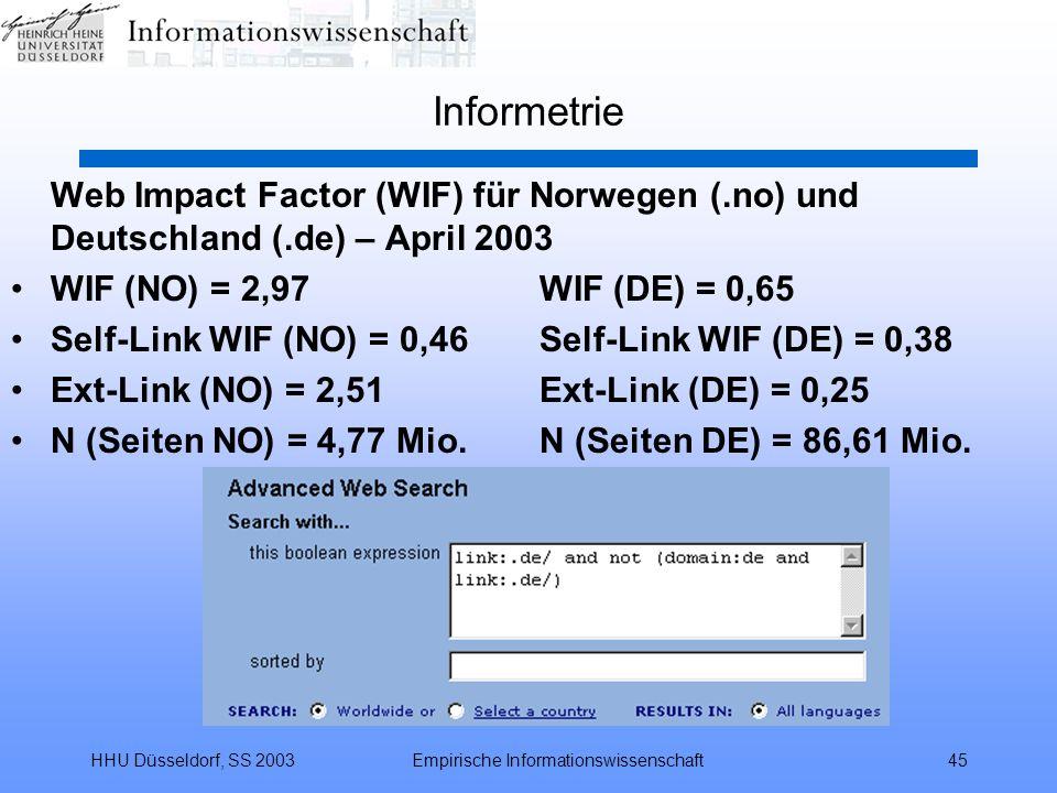 HHU Düsseldorf, SS 2003Empirische Informationswissenschaft45 Informetrie Web Impact Factor (WIF) für Norwegen (.no) und Deutschland (.de) – April 2003