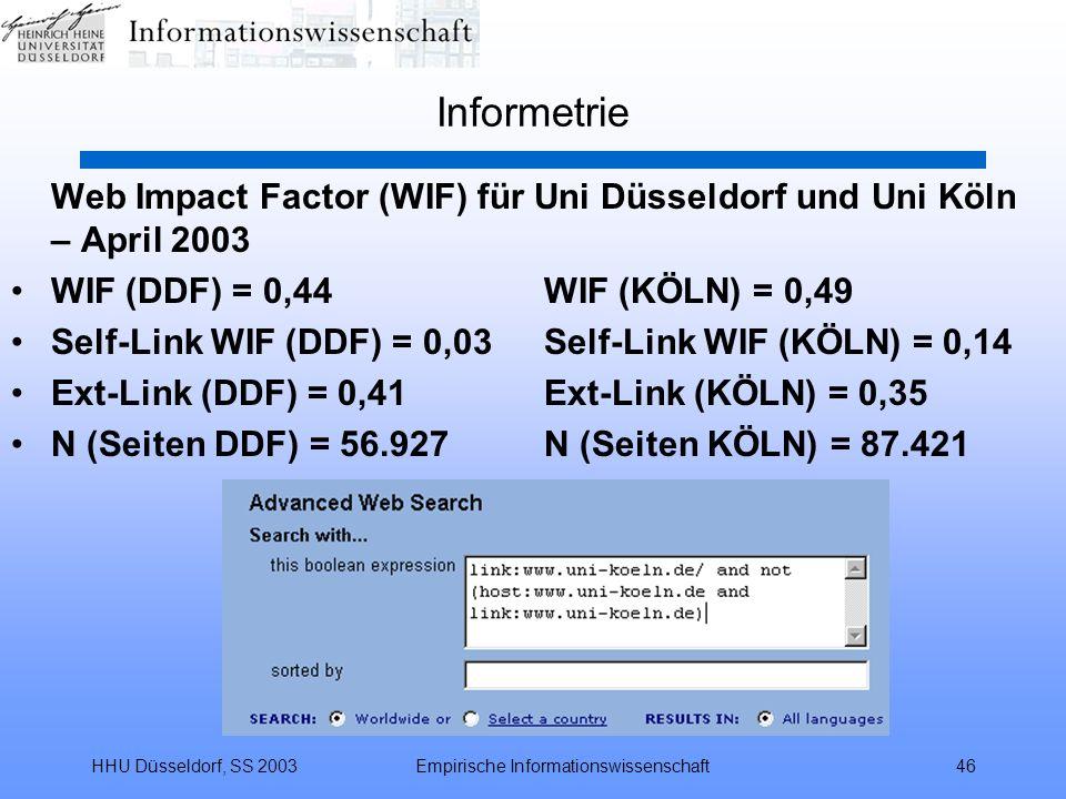 HHU Düsseldorf, SS 2003Empirische Informationswissenschaft46 Informetrie Web Impact Factor (WIF) für Uni Düsseldorf und Uni Köln – April 2003 WIF (DDF