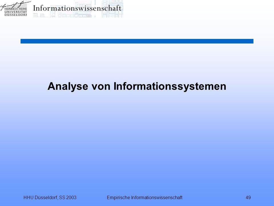 HHU Düsseldorf, SS 2003Empirische Informationswissenschaft49 Analyse von Informationssystemen