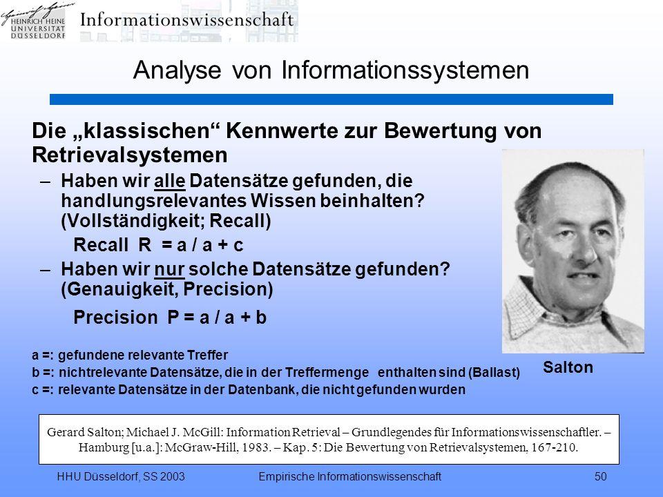 HHU Düsseldorf, SS 2003Empirische Informationswissenschaft50 Analyse von Informationssystemen Die klassischen Kennwerte zur Bewertung von Retrievalsys