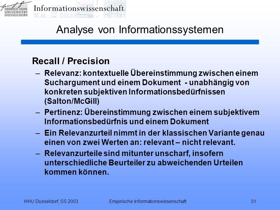 HHU Düsseldorf, SS 2003Empirische Informationswissenschaft51 Analyse von Informationssystemen Recall / Precision –Relevanz: kontextuelle Übereinstimmu