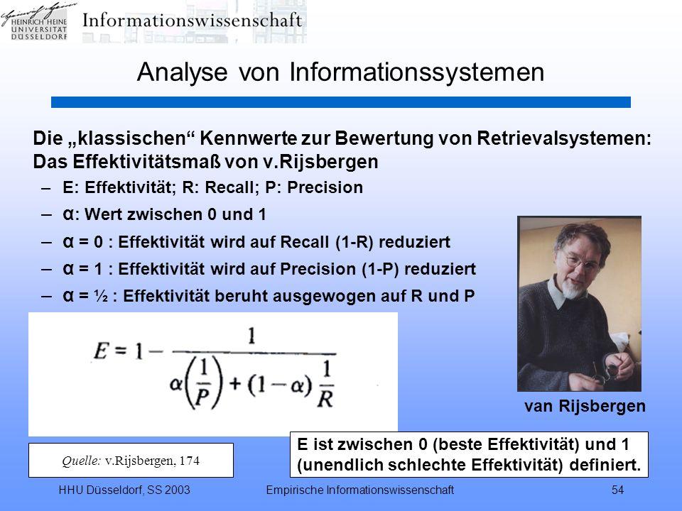 HHU Düsseldorf, SS 2003Empirische Informationswissenschaft54 Analyse von Informationssystemen Die klassischen Kennwerte zur Bewertung von Retrievalsys