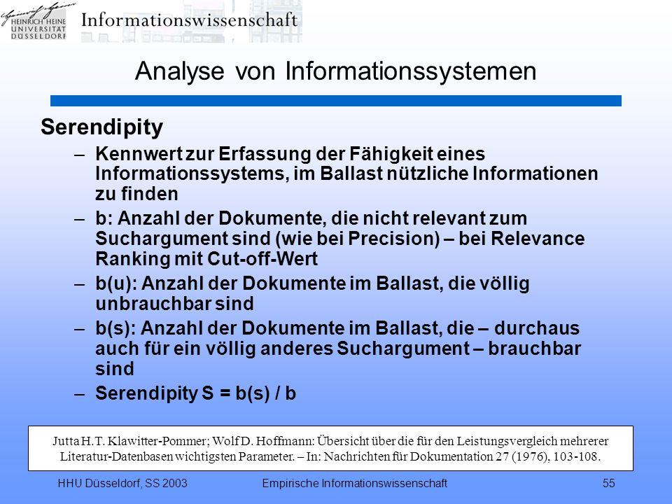 HHU Düsseldorf, SS 2003Empirische Informationswissenschaft55 Analyse von Informationssystemen Serendipity –Kennwert zur Erfassung der Fähigkeit eines