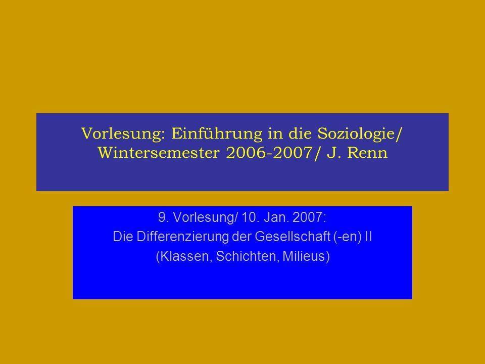 Vorlesung: Einführung in die Soziologie/ Wintersemester 2006-2007/ J. Renn 9. Vorlesung/ 10. Jan. 2007: Die Differenzierung der Gesellschaft (-en) II