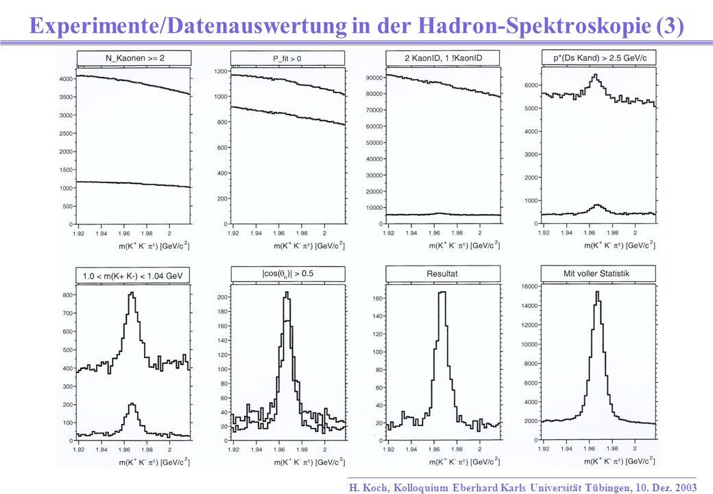 Experimente/Datenauswertung in der Hadron-Spektroskopie (3)