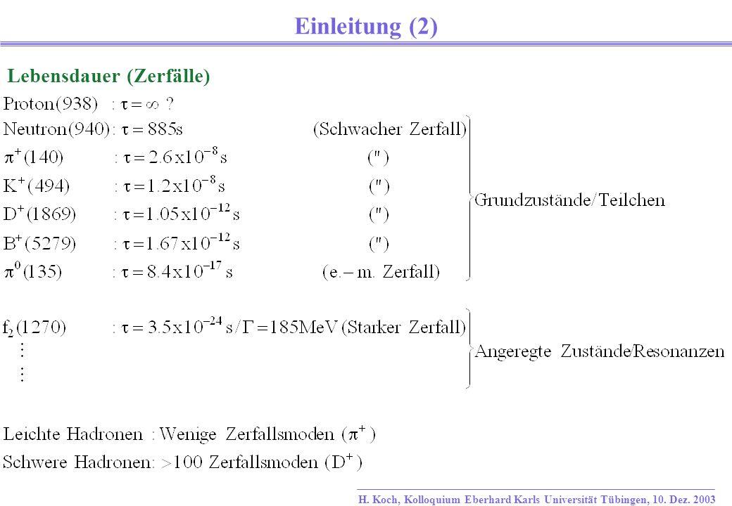 H. Koch, Kolloquium Eberhard Karls Universität Tübingen, 10.