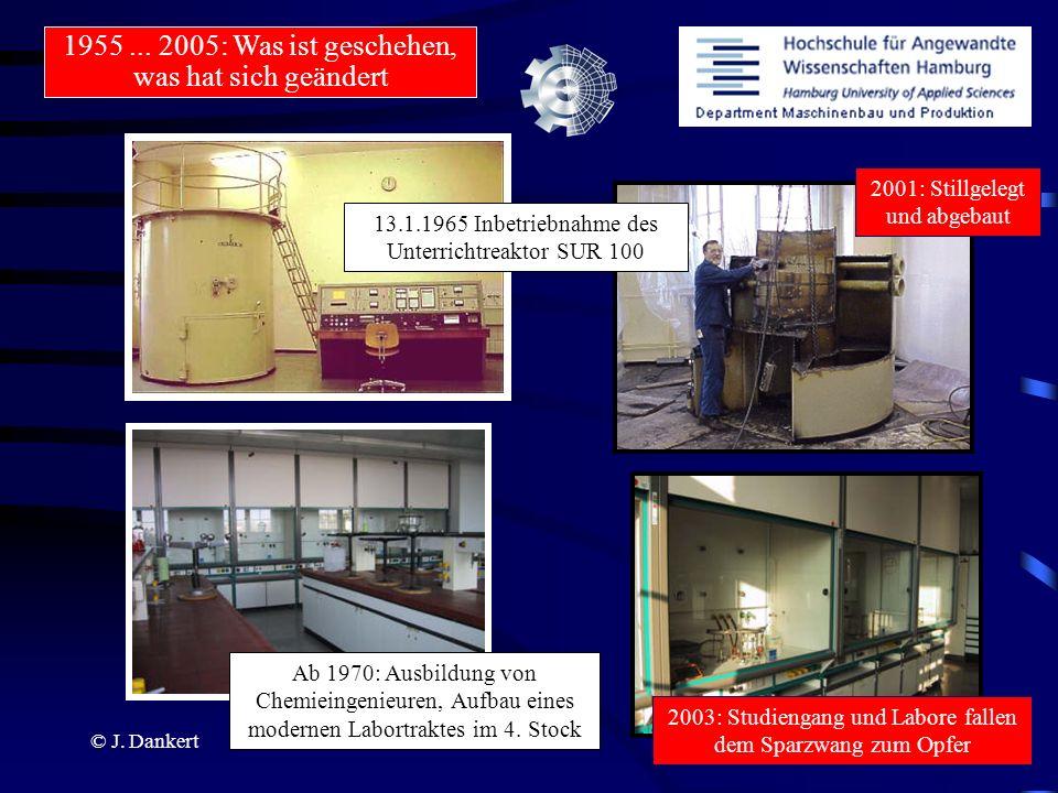 © J. Dankert 2001: Stillgelegt und abgebaut 13.1.1965 Inbetriebnahme des Unterrichtreaktor SUR 100 Ab 1970: Ausbildung von Chemieingenieuren, Aufbau e